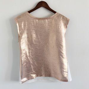 Maje Silk Metallic Gold Blend Top Size 3 / Large